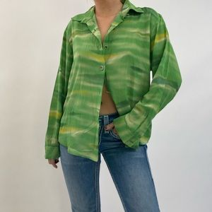 Vintage 90's Green Swirl Abstract Funky Blouse
